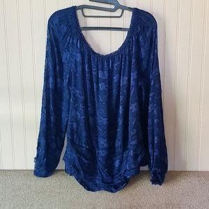 White House Black Market blouse XL blue floral